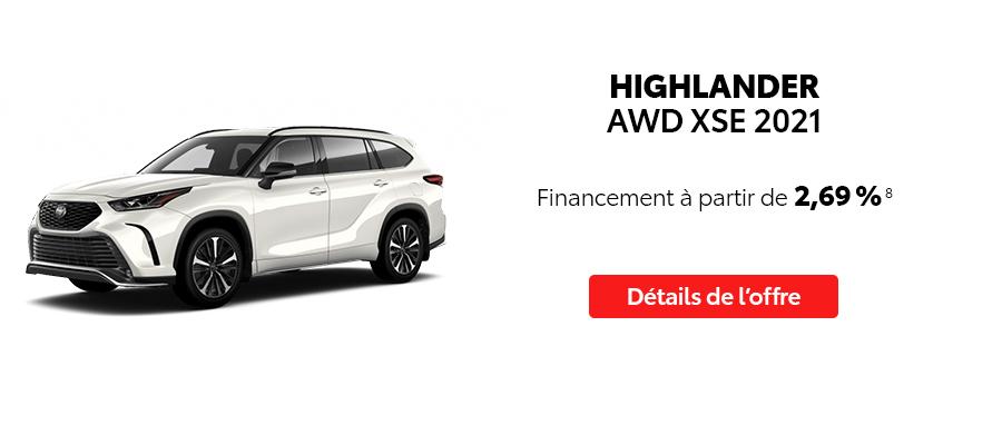 St-Hubert Toyota Repartez En Toyota Septembre 2021 Highlander AWD XSE 2021